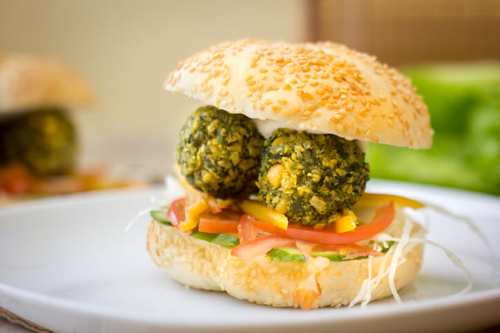 Falafel Balls in a Bun with Peppers